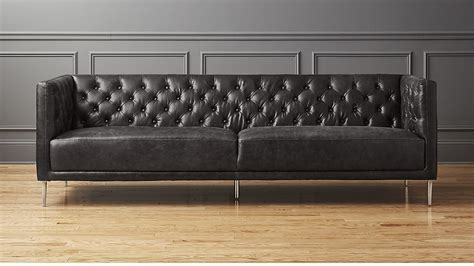 black tufted sofa savile black leather tufted sofa cb2