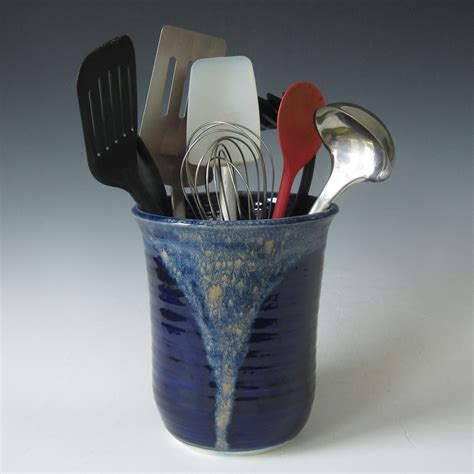 Asian Home Decor Accessories Hand Made Midnight Blue And Tan Kitchen Utensil Holder By