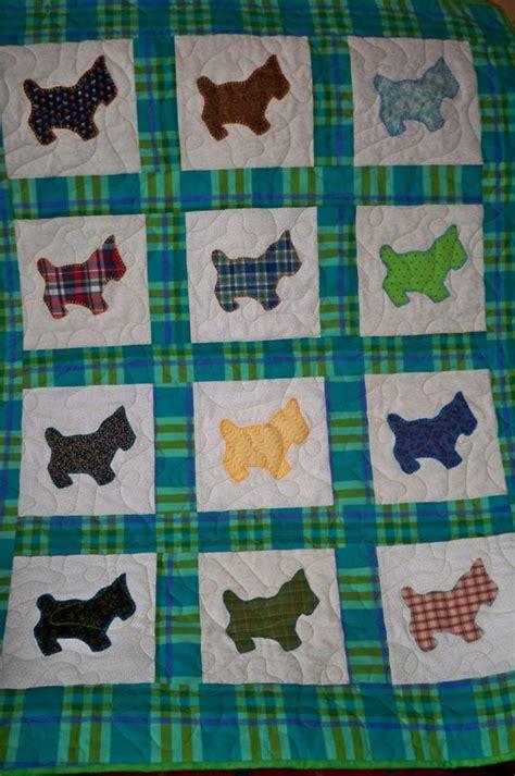 Scottie Quilt Pattern by Baby Quilt Playful Scottie Dogs Vintage Fabrics