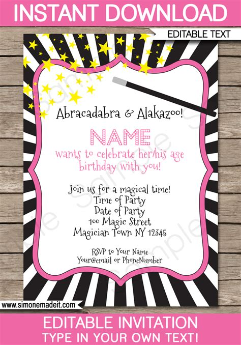 free printable birthday invitations magic theme magic birthday party invitations template editable magic
