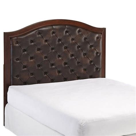 Leather Tufted Headboard Tufted Panel Headboard With Brown Leather In Cherry 5545
