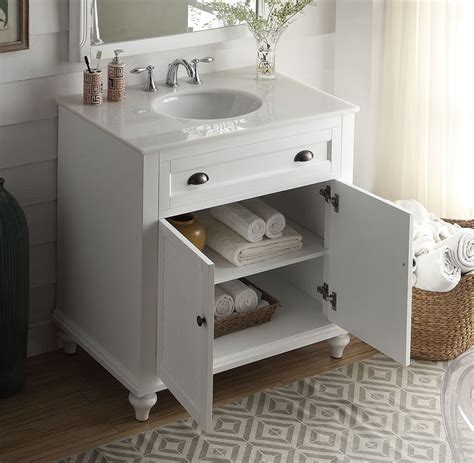 34 inch bathroom vanity cottage style white color
