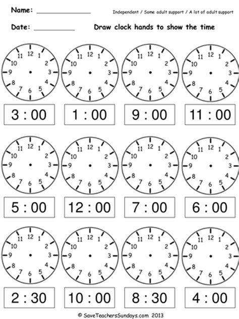 clock worksheets year 2 year 2 maths worksheets from save teachers sundays by