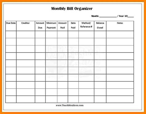 8 monthly bill spreadsheet monthly bills template
