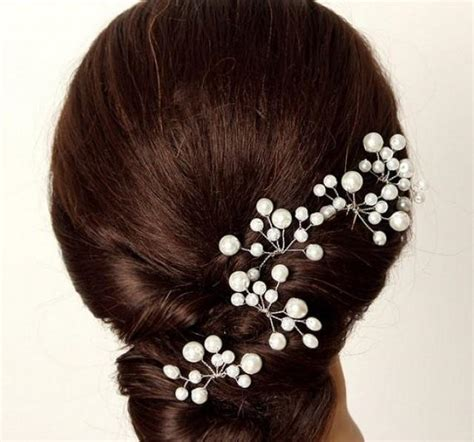Wedding Hair Accessories With Pearls by Four Pieces Bridal Pearl Hair Pin Wedding Hair