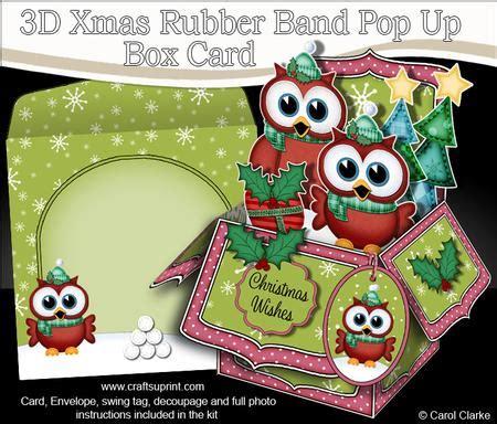 pop up card box template christmas 3d hoot hoot owls rubber band pop up box card cup565268 359 craftsuprint
