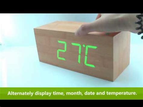 wooden led digital alarm calendar desk clock