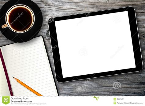 camera wallpaper for tablet workplace with digital tablet and coffee cup stock image