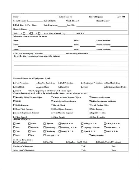 Occurrence Variance Report Template Workplace Report Form Report And