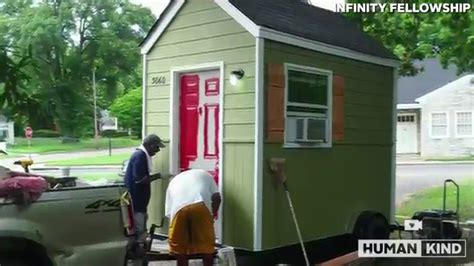 new tiny house neighborhood will allow homeless to rent to own homeless man jumps for joy over new tiny house youtube