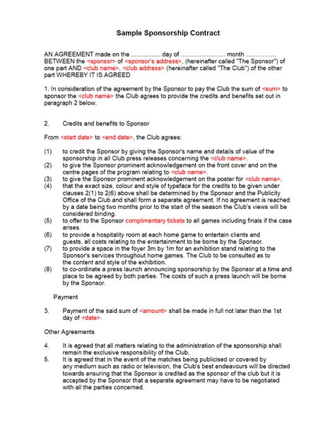 Sponsor Agreement Letter Sponsorship Contract Template