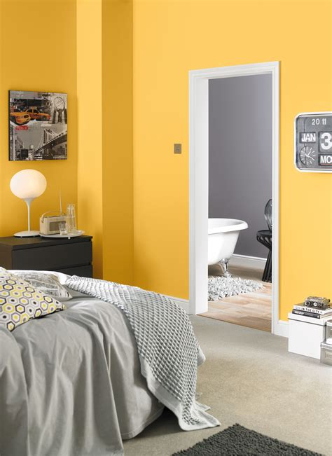 yellow  grey bedroom painted  crown solo  coat