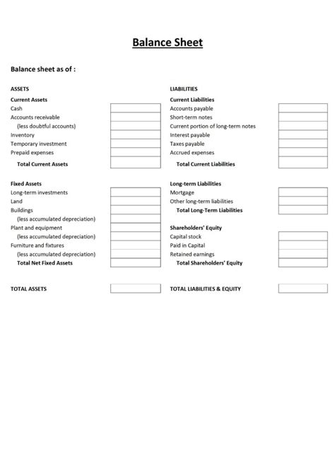 basic flow statement template free printable and blank balance sheet template sles