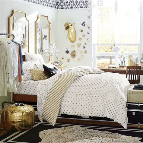 pbteen bedding the emily meritt metallic dottie duvet cover sham pbteen