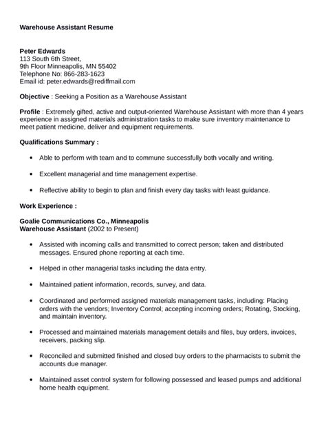 Warehouse Assistant Resume Sle by Warehouse Assistant Resume Sales Assistant Lewesmr