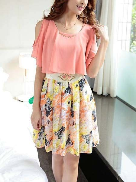 Dress Pinkmini Dress Koreadress Casualsg pink and colorful shoulder to mini korean dress for casual summer dress ph