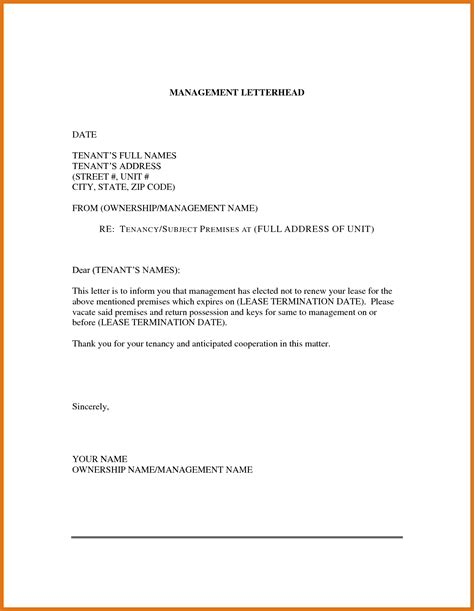 Formal Letter Non Renewal Lease Lease Renewal Letter Letter Format Business