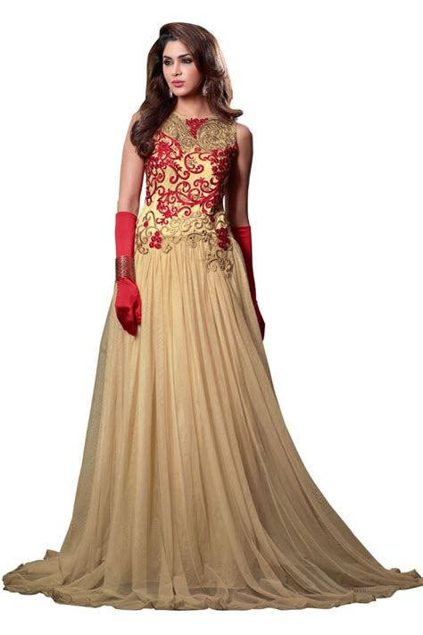 embroidery design gown light brown embroidery net semi stitch designer gown style