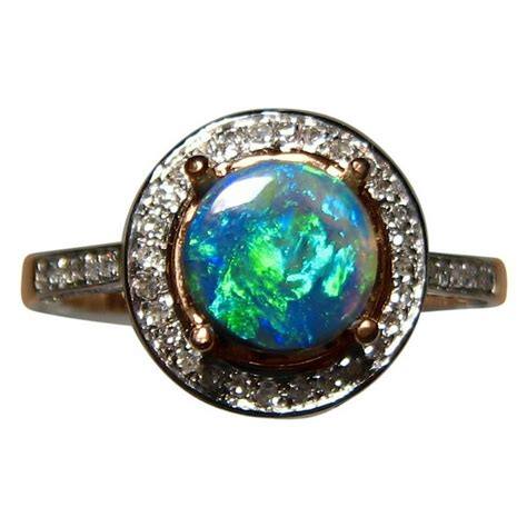 black opal black opal ring halo design flashopal