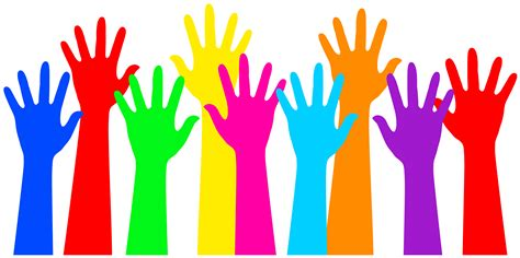 Washing Different Colors Together - rainbow colored raised hands free clip art