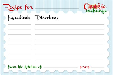 Cookie Recipe Card Template Word by Cookie Exchange Free Printables How To Nest For
