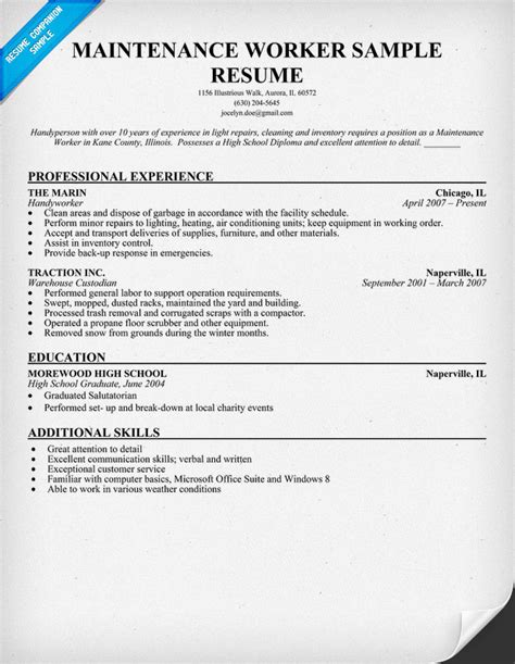resume sles for maintenance worker maintenance worker resume sle