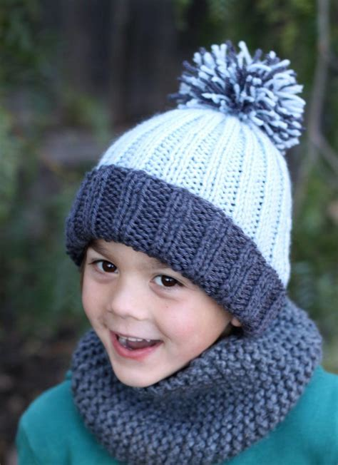 free hat knitting patterns needles beginner easy ribbed pom hat allfreeknitting