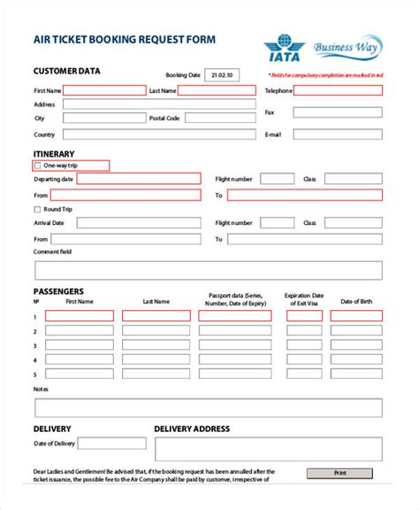 Travel Request Form Exle Travel Booking Request Form Template