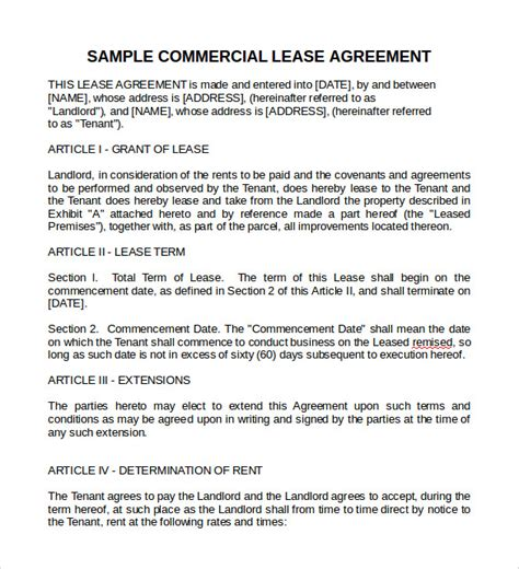 commercial lease template word sle commercial lease agreement 9 exle format