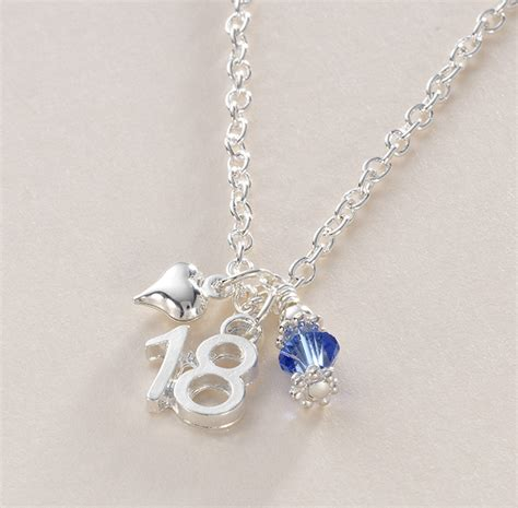 birthstone necklace with 18 charm