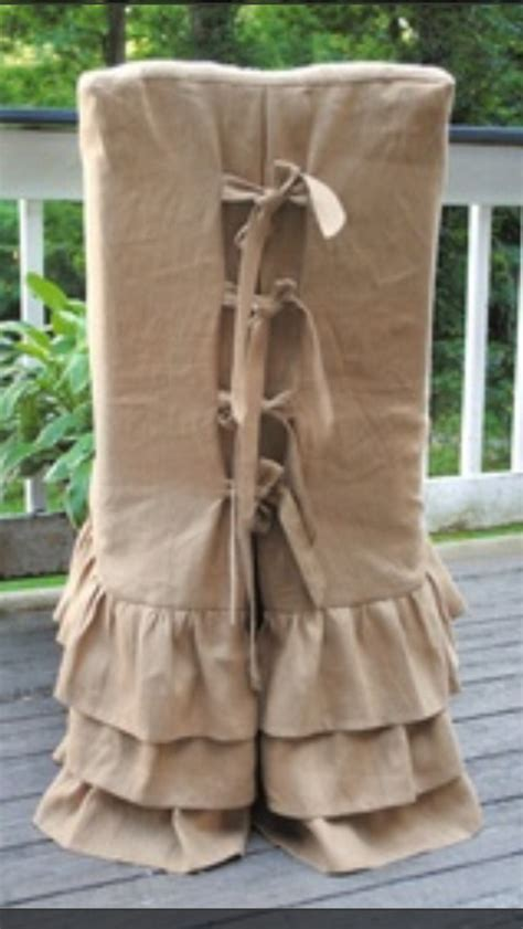 burlap parson chair cover slipcovers ruffle skirts ties  details slipcovers pinterest