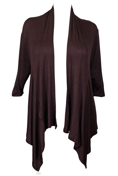 Brown Drape Cardigan plus size longline drape front cardigan brown evogues apparel