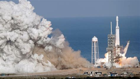 elon musk rocket launch elon musk s falcon heavy rocket launches successfully