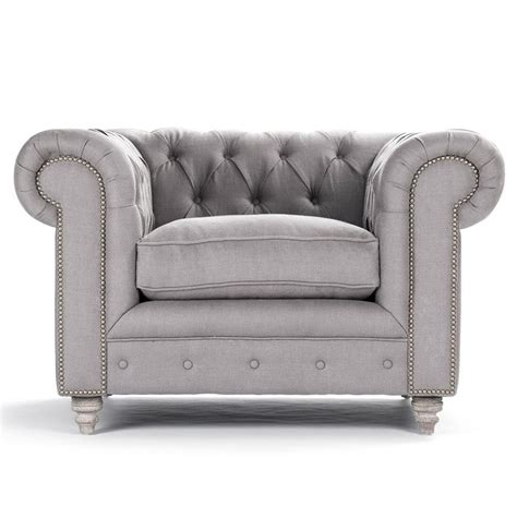 Gray Tufted by Alaine Rolled Arm Grey Linen Tufted Club Chair