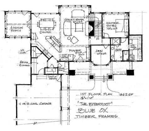 timber frame home floor plans the bitteroot timber frame home floor plan blue ox