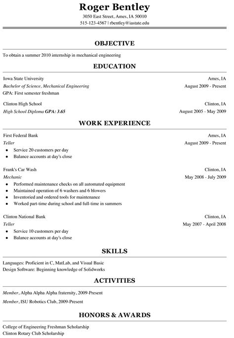 Sample Student Resume For College Application by Freshman College Student Resume Sample Cover Latter