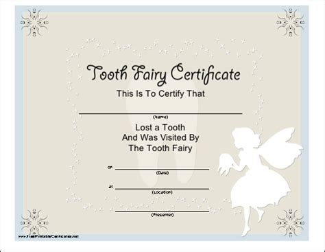 pin tooth fairy certificate on pinterest