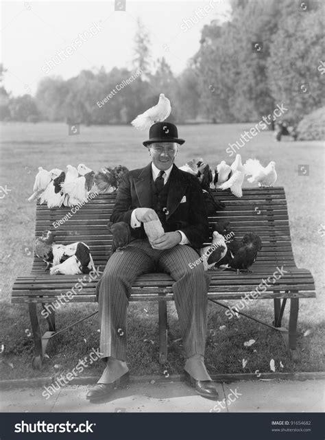 man feeding pigeons  park bench stock photo