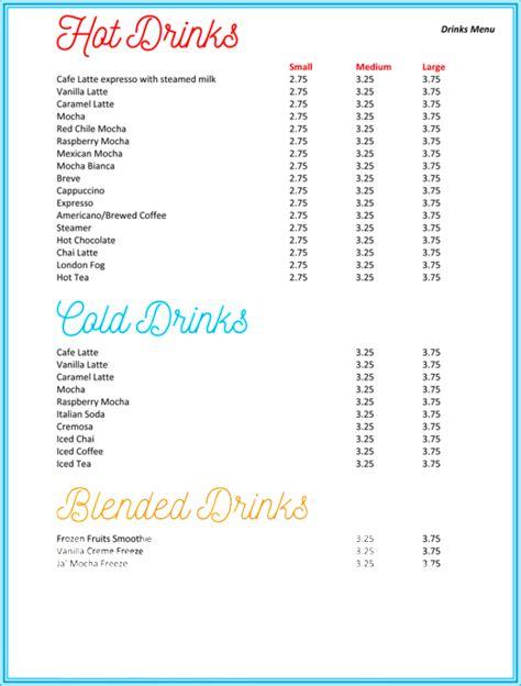 drinks menu format template   docx psd
