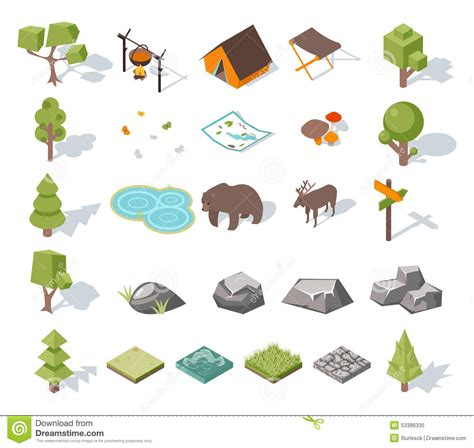 map design elements vector isometric 3d forest cing elements for landscape stock
