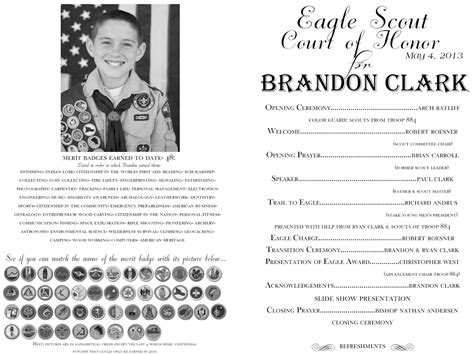 eagle scout program template eagle court of honor program template eagle court of