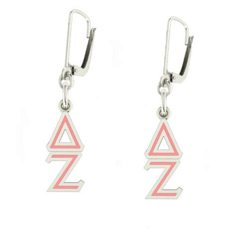 sterling silver delta zeta enamel lavaliere earrings ec411 ls
