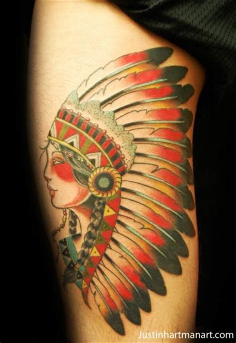 tattoo old school indian old school indian thigh tattoo by justin hartman