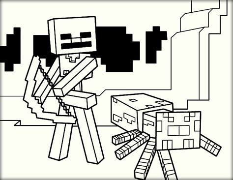minecraft coloring pages skeleton minecraft coloring pages
