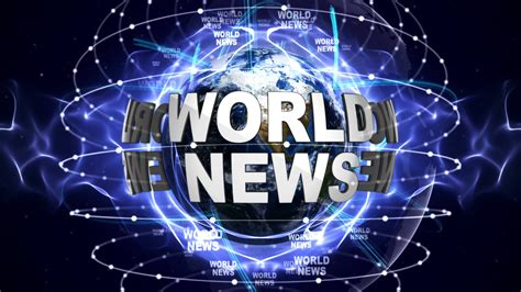 world news world news text animation and earth loop 4k motion