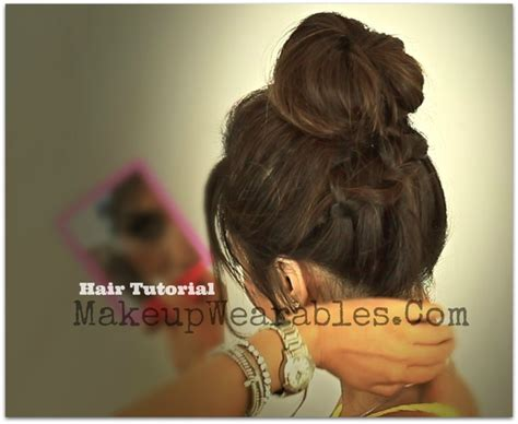 back to school updo hairstyles hair tutorial braided messy bun ponytail back to
