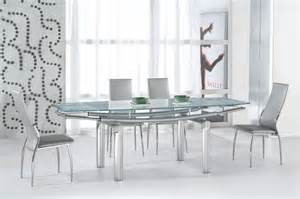 Extendable Glass Dining Table Set Extendable Recangular Frosted Glass Top Leather Modern Dining Set With Leaf Modern Dining