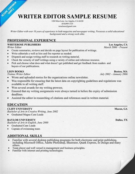 resume template writer editor writer editor resume resumecompanion resume