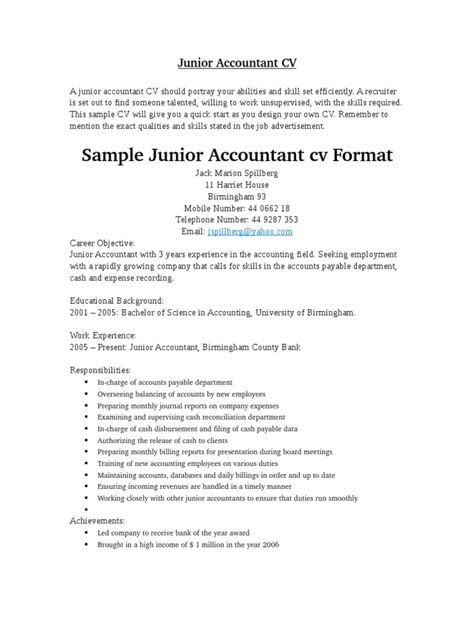 stunning resume format for accountant doc junior accountant cv