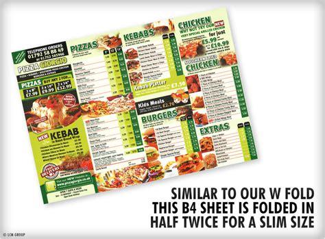 standard half fold takeaway b4 menus menu printing uk
